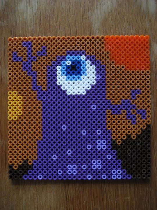 hama beads – purple monster
